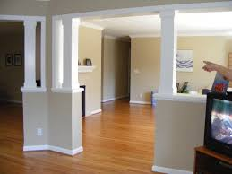 decor interior paint color with half wall room divider and wood