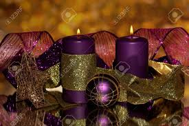 Purple Gold Christmas Decorations Christmas Composition With Candles And Decorations In Purple