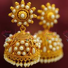 gold jhumka earrings e4216 gold plated broad design pearl hangings jhumka