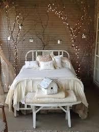 dark brown wooden bedside table indoor string lights for bedroom