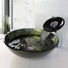 Bathroom Vessel Sink Faucets by Glass Vessel Sink With Waterfall Bathroom Sink Faucet