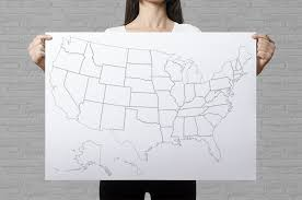 Us Map Political United States Coloring Poster Giant Coloring Page Plain