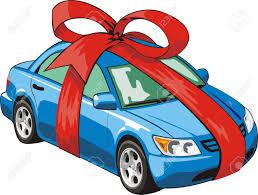 car ribbon car with a ribbon for gift royalty free cliparts vectors