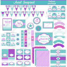 ariel inspired printable deluxe package ariel party