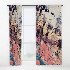 Pink And White Curtains Bohemian Window Curtains Society6