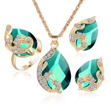 pendant necklace earring images Gold color austrian peacock three piece crystal zircon water drop jpg