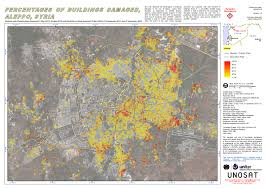 Map Of Syria Conflict by Percentages Of Buildings Damaged Aleppo Syria Unitar