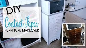 Diy Desk With File Cabinets by Diy Furniture Makeover Contact Paper Youtube