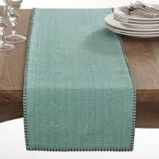 Aqua Table L Fennco Styles Celena Collection Whip Stitched Design