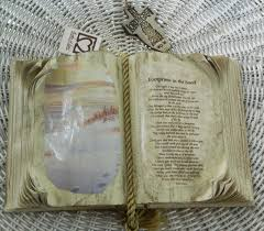 books of love decorative open book footprints in the sand poem