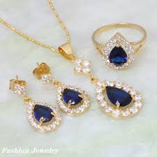 sapphire earrings necklace set images Austrian crystal jewelry 18k yellow gold plated blue sapphire jpg