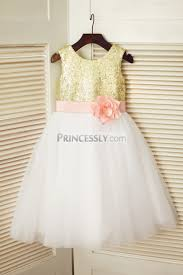 gold sequin ivory tulle wedding flower dress with pink flower