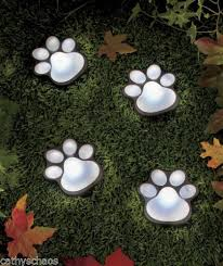 garden decor solar animal cat paw prints
