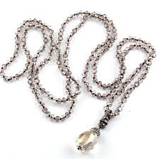 crystal drop pendant necklace images 6mm crystal knotted glass crystal drop pendant necklace haute jpg