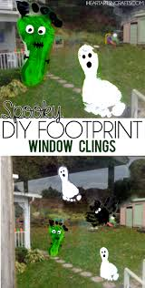 spooky footprint window cling toddler craft