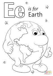 letter e is for earth coloring page free printable coloring