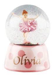 personalised ballerina musical snow globe