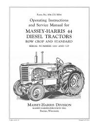 massey harris 44 diesel tractors operating instructions and service