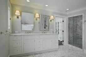bathroom bath room with shower and vanity cabimet with double bathroom bath room with shower and vanity cabimet with double sink and mirror with light combined grey tiled floor and back splash