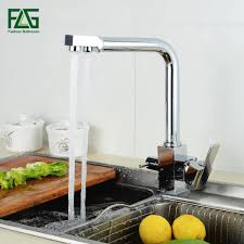 reviews square filter faucets kitchen 3 way water tap dual lever