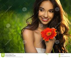 beautiful with red flowers beautiful model woman face stock