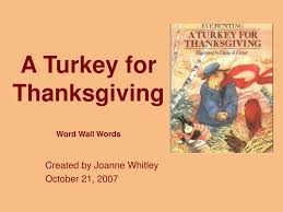 ppt a turkey for thanksgiving word wall words powerpoint