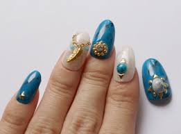 3d nails handpainted nails turquoise nails foil nails feather