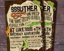 slither snake green reptile birthday invitation birthday