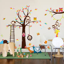 fox home decor tree wall sticker with squirrel fox mushroom owls monkey