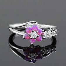 fire opal rings images Flower blue fire opal rings for women cosless jpg