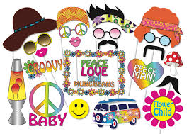hippie party photo booth props set 24 piece printable 60s
