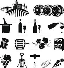 black and white champagne bottle clipart vineyard and wine black white vector icon set stock vector art