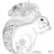 squirrel zentangle coloring page free printable coloring pages