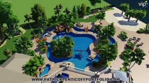 Backyard Pool With Lazy River Patrick Penticoff Portfolio Lazy River Pool Pool Studios 3d