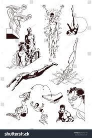swimming sport set hand drawn sketch stock vector 689713144