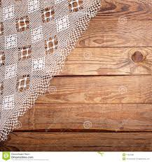 Wooden Table Top View Wood Texture Wooden Table With White Lace Tablecloth Top View