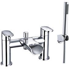 enki waterfall bath filler mixer tap with handheld shower designer