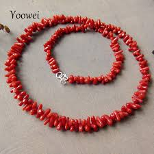 coral necklace images Yoowei natural red coral necklace irregular precious beads italy jpg
