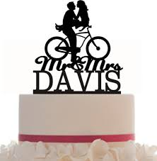 bicycle cake topper wedding cake topper mr and mrs hair with a bicycle silhouette