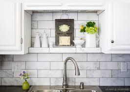 White Tile Backsplash Kitchen White Subway Tile With Light Gray - Marble backsplashes for kitchens