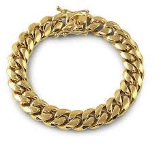 cuban link bracelet men images Yellow gold mens cuban link bracelet high quality stainless steel jpg