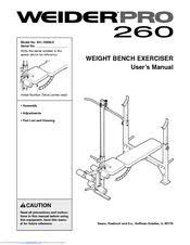 Weider 215 Bench Weider Pro 260 831 15609 0 Manuals