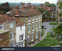 row traditional british houses front canterbury stock photo