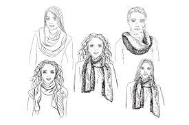 girls in the scarf sketch illustrations creative market