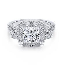 princess cut 3 engagement rings gibson 18k white gold princess cut 3 stones halo engagement ring