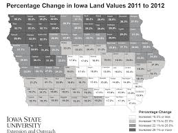 Isu Map 2012 Iowa Land Value Survey Results Iowa State University