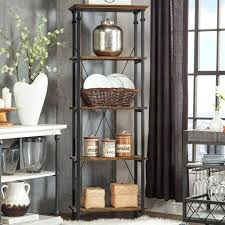 Bakers Rack With 2 Drawers Bookcase Furniture Step Ladder Display Cabinet Distressed Blue