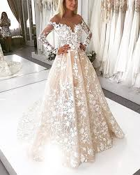 ivory lace wedding dress ivory lace embroidery tulle neckline sleeves wedding