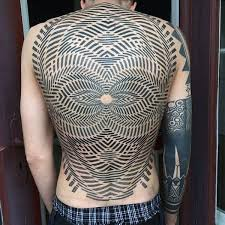 mens back tattoo of optical illusion with grid illusion amazing