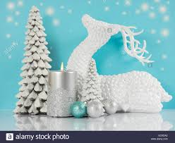 White Christmas Tree With Blue Decorations Pale Aqua Blue Silver And White Christmas Scene With Reindeer